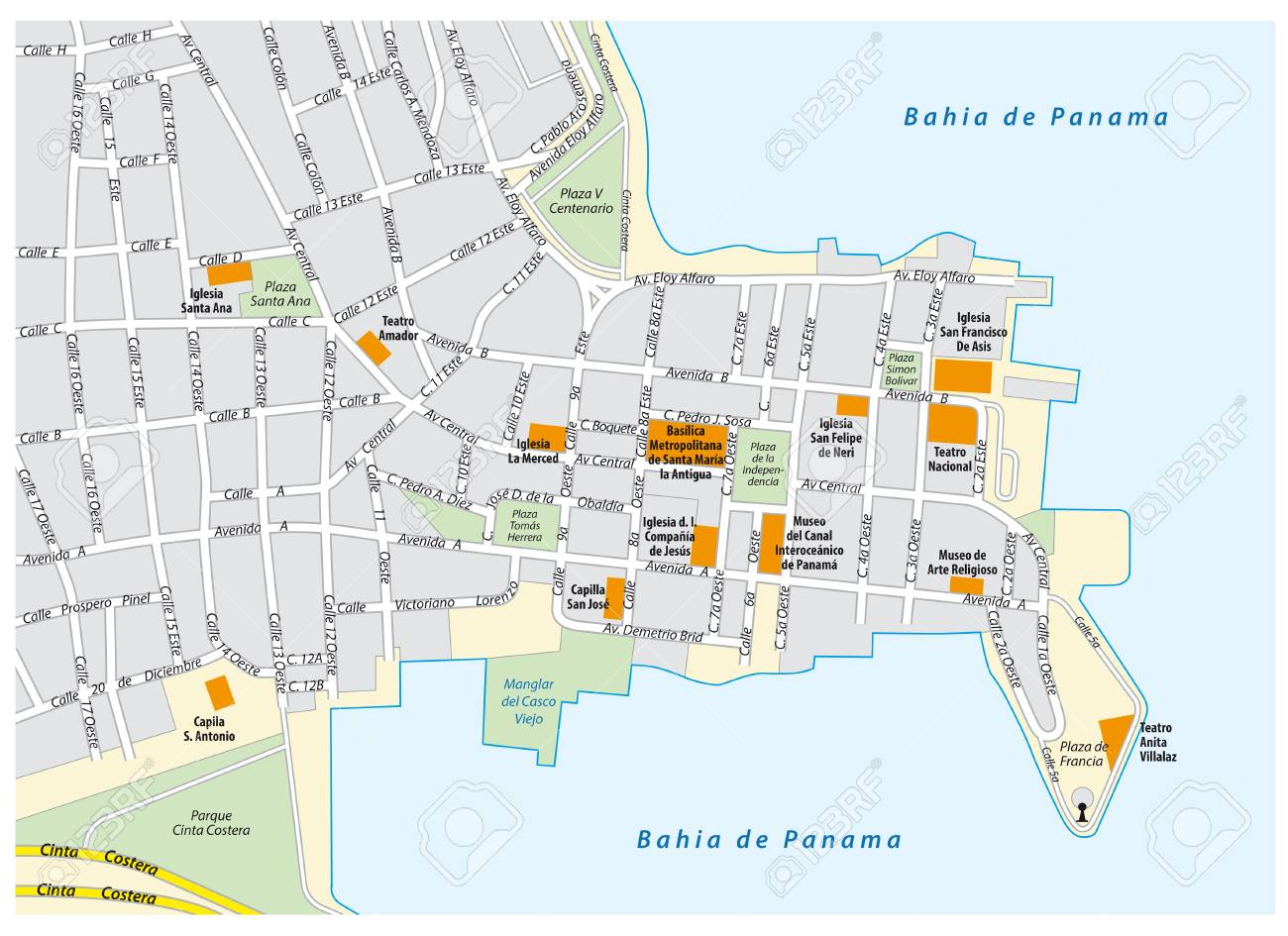 Road map of the old city of Panama City, Panama
