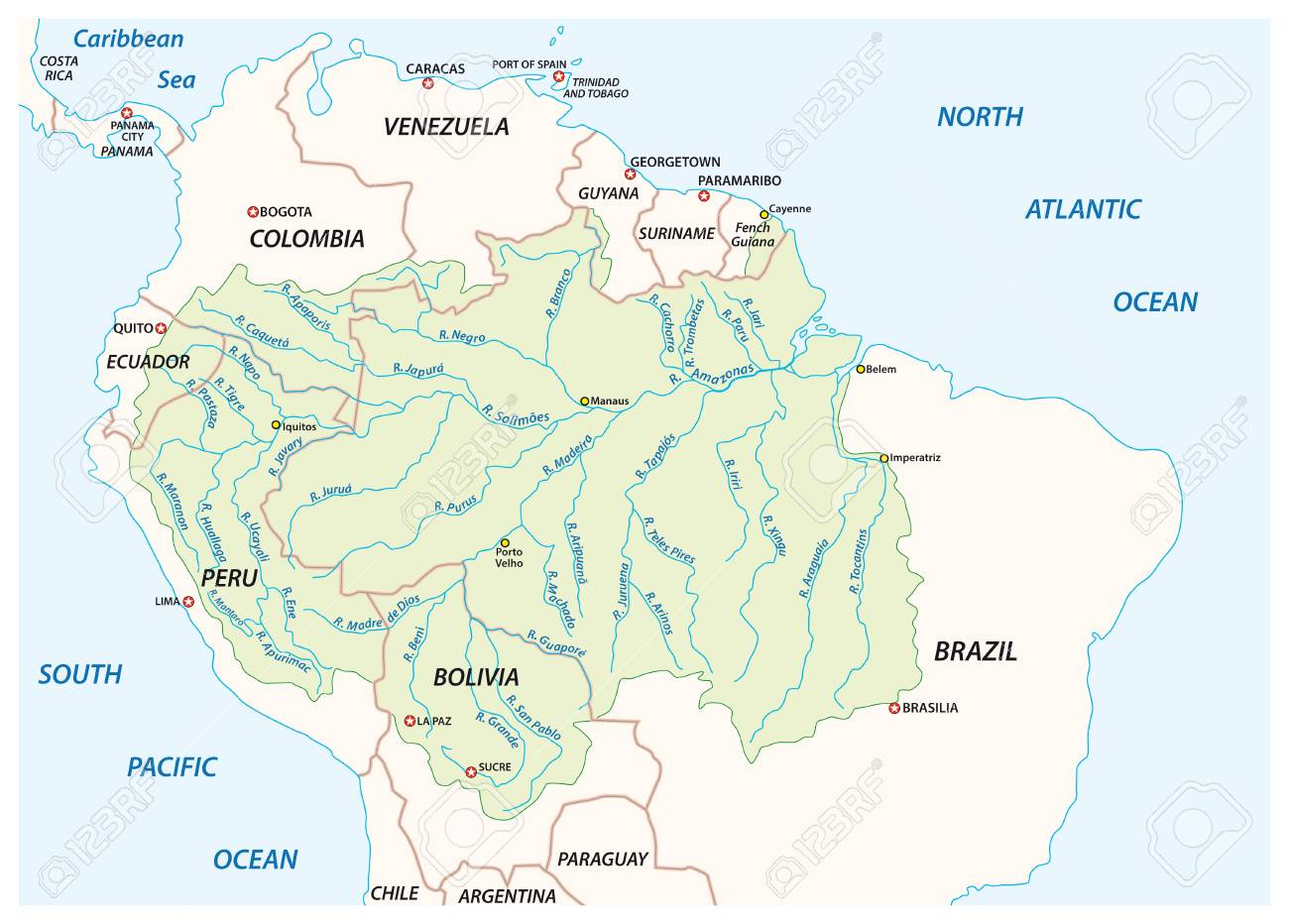Vector map of the Amazon River drainage basin - 125178855