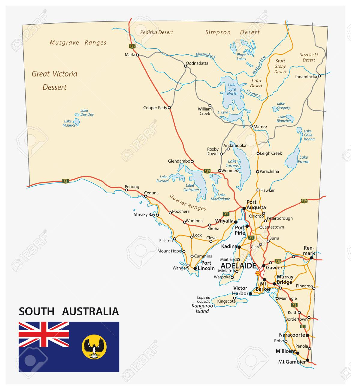 Map Of Southern Australia.Road Map Of The State South Australia With Flag