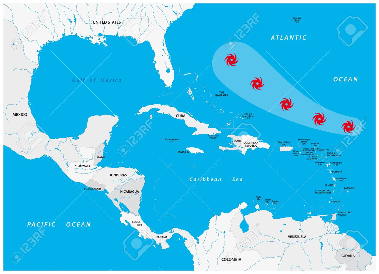 Schematic vector map of a fictional hurricane in North and Central America - 152832769