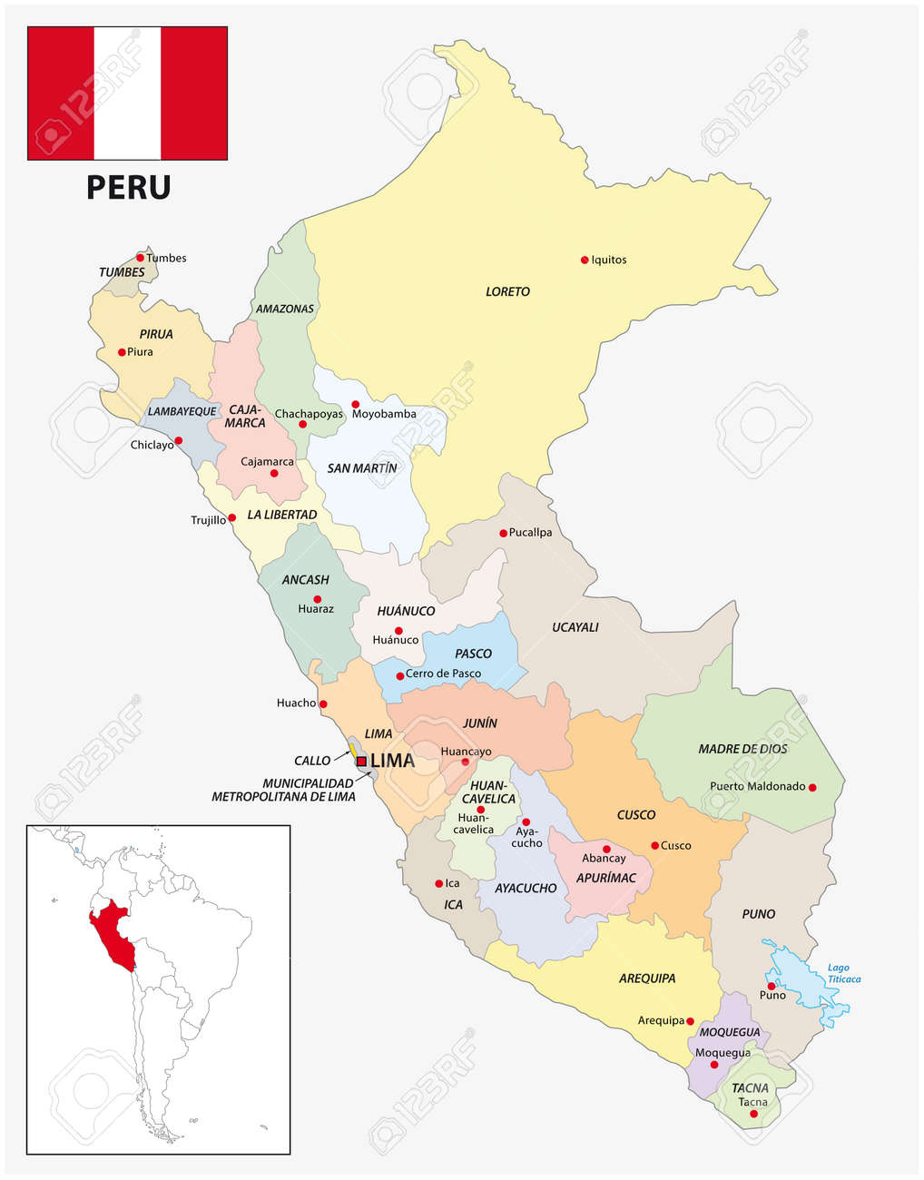 Administrative divisions vector map of Peru with flag - 156430472