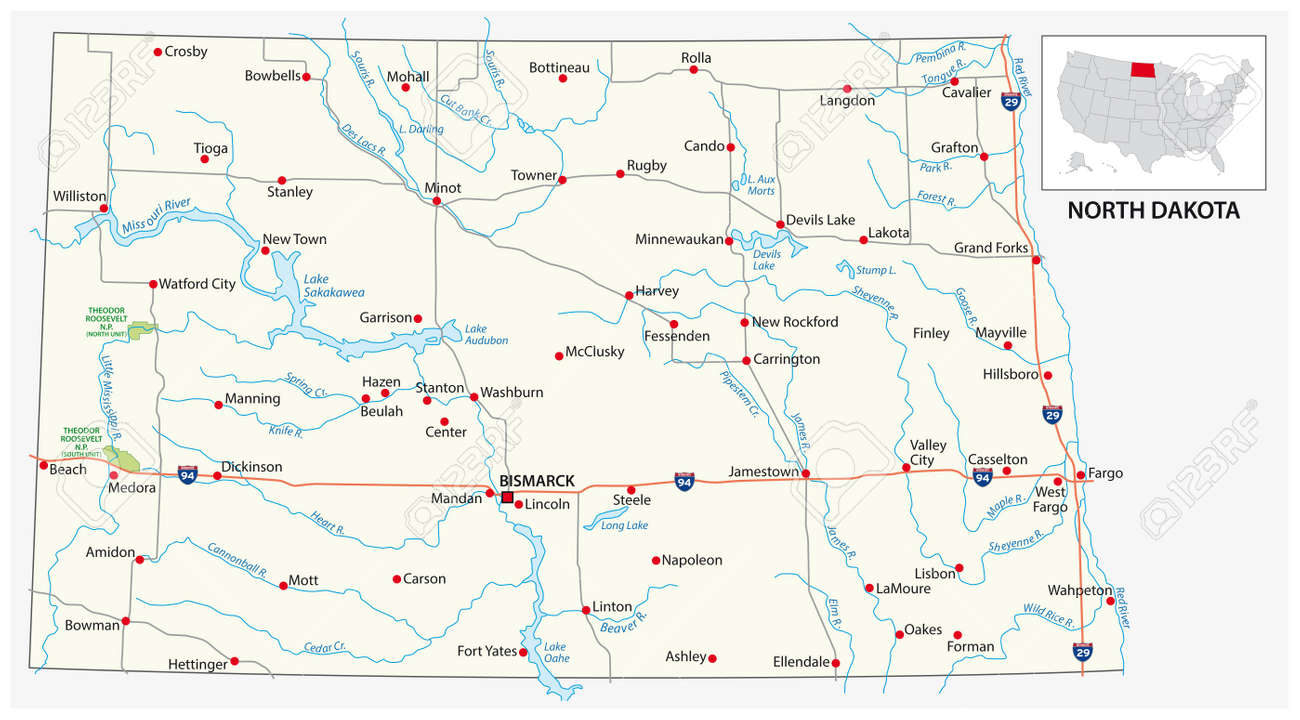 road map of the US American State of north dakota - 157432485