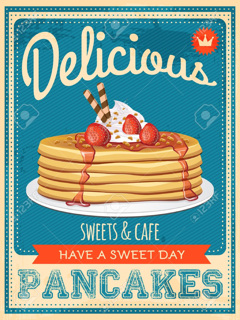 vector vintage styled pancakes poster - 37001702