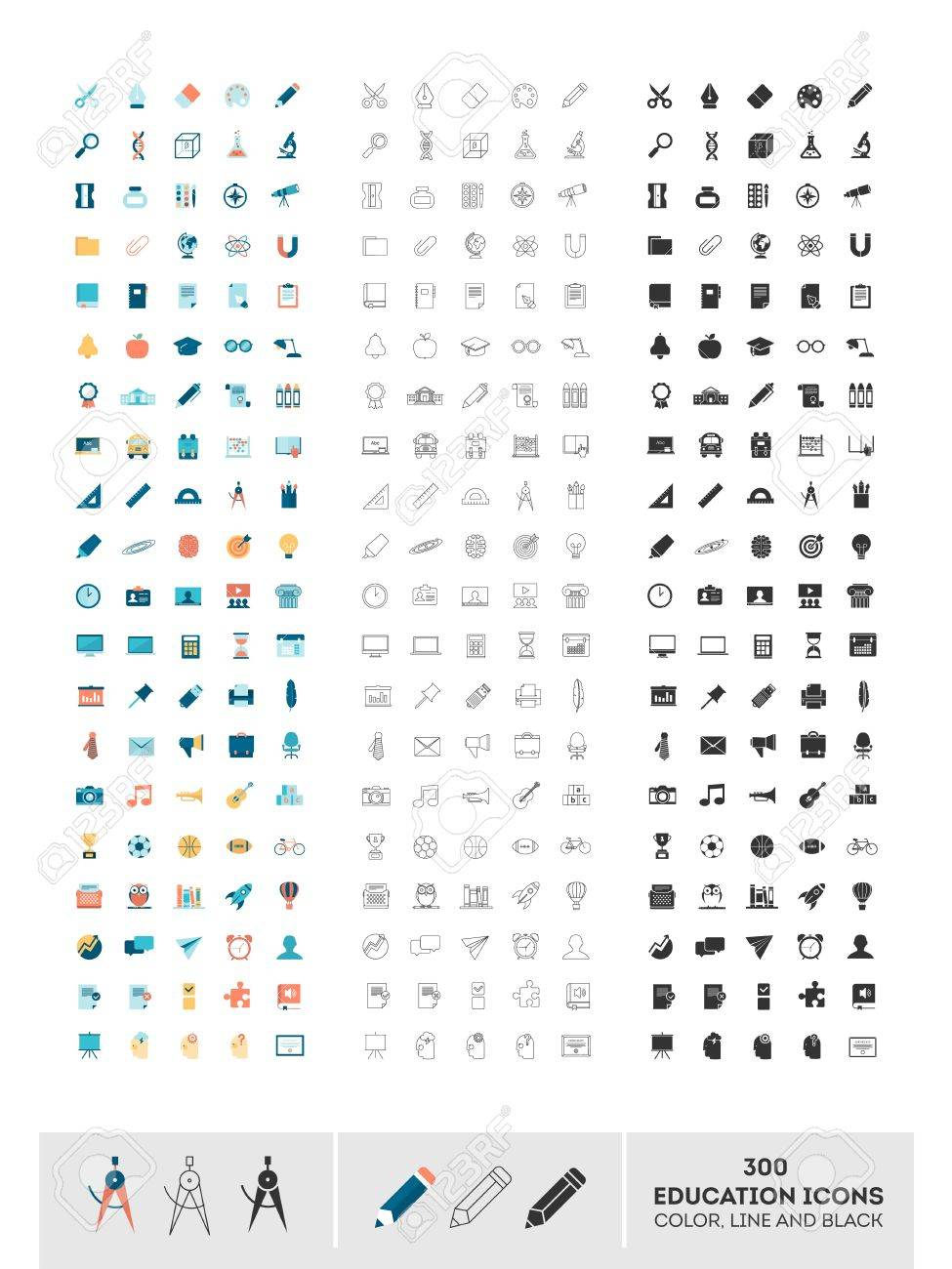 set of 300 education icons made in color, line and black, illustration - 37261689