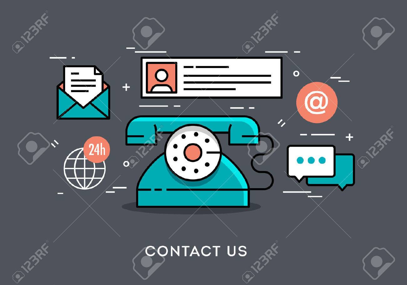 Flat design thin line concept banner for contact, vector illustration - 46794455