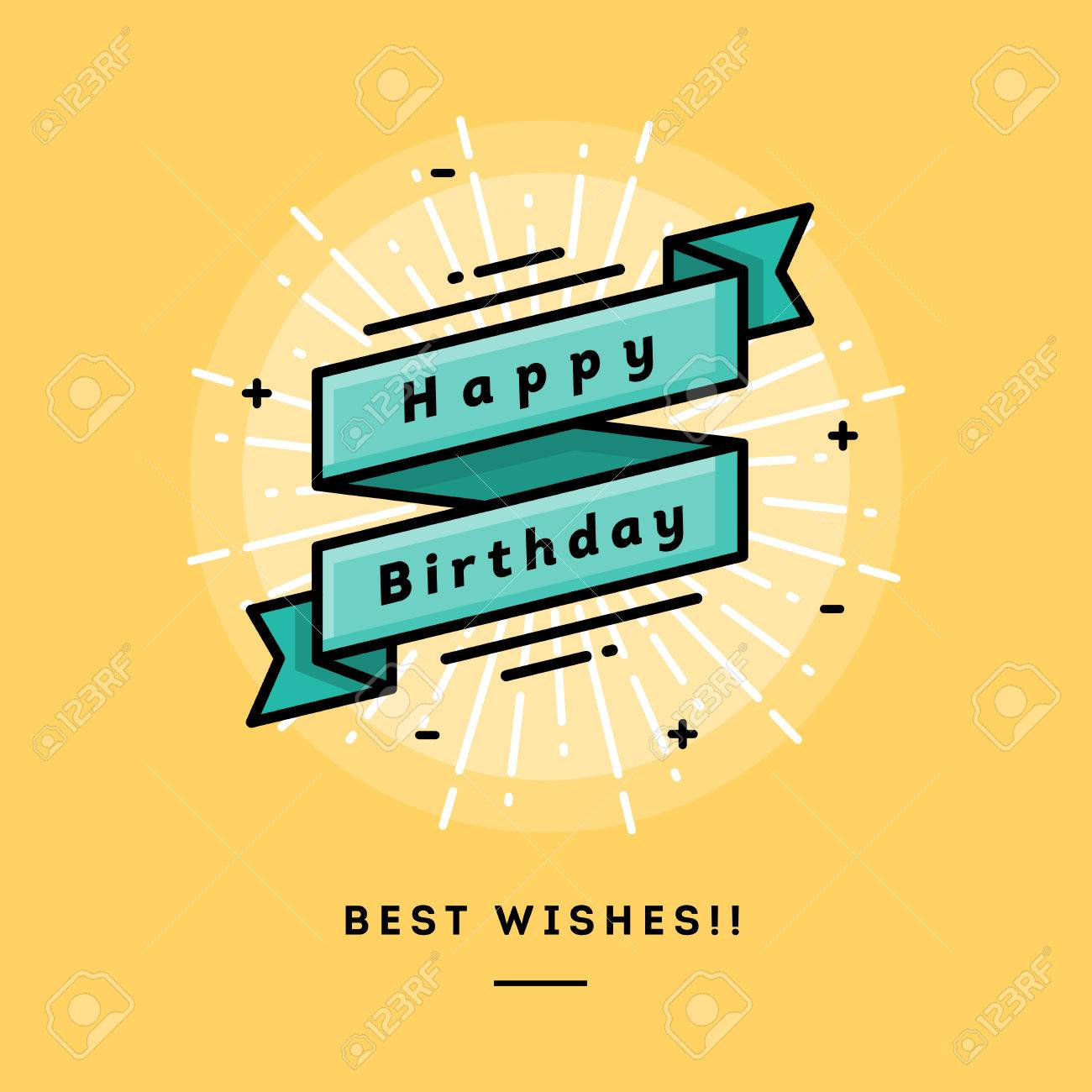 Happy birthday, flat design thin line banner, usage for e-mail newsletters, web banners, headers, blog posts, print and more - 50569658