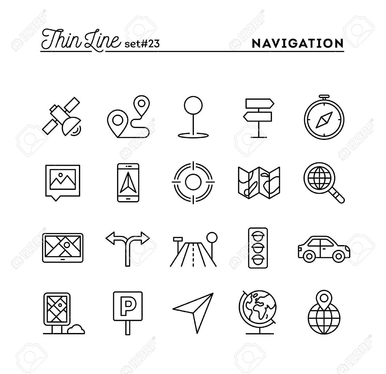 Navigation, direction, maps, traffic and more, thin line icons set, vector illustration - 61454048
