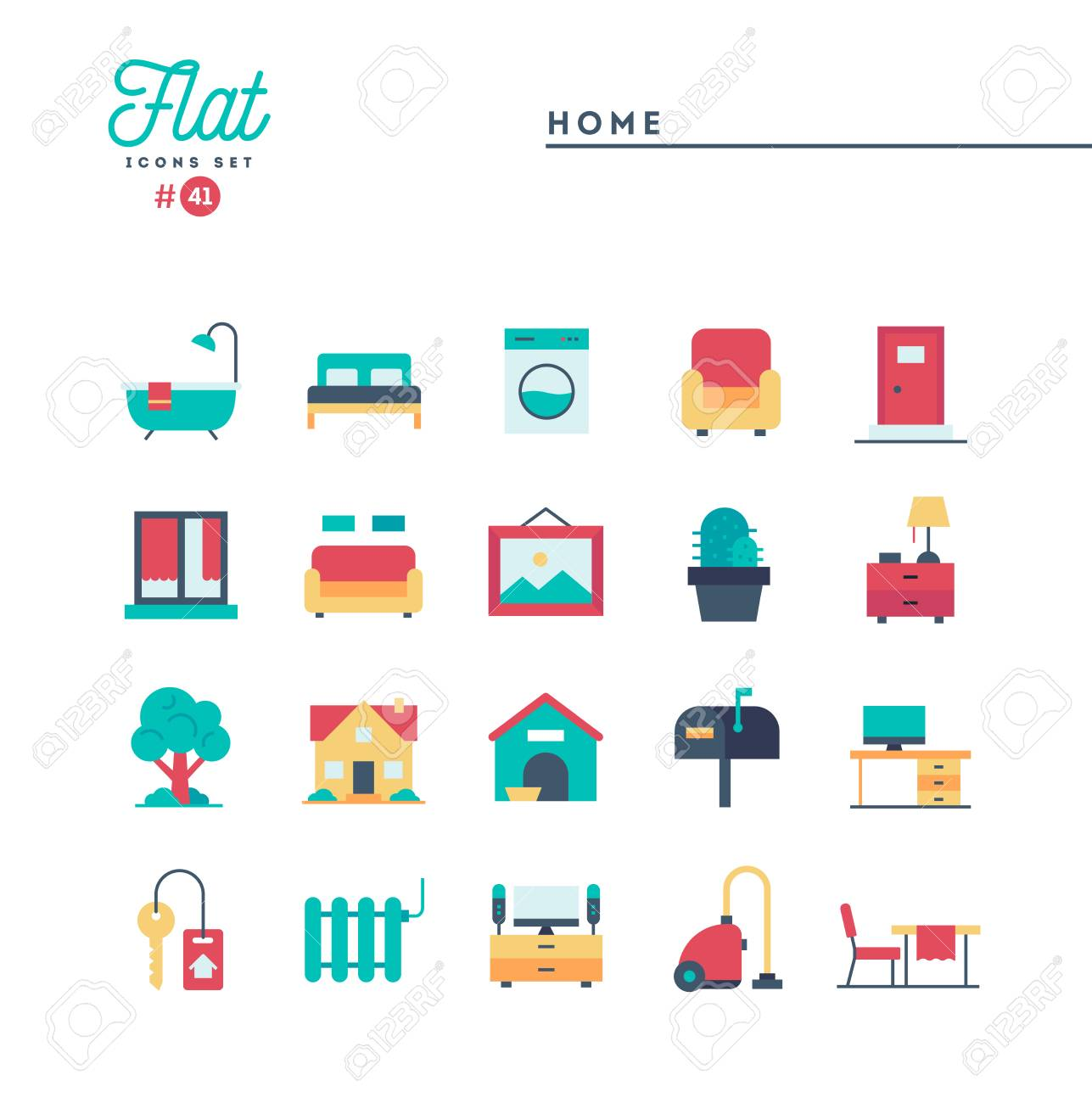Home Interior Furniture And More Flat Icons Set Vector