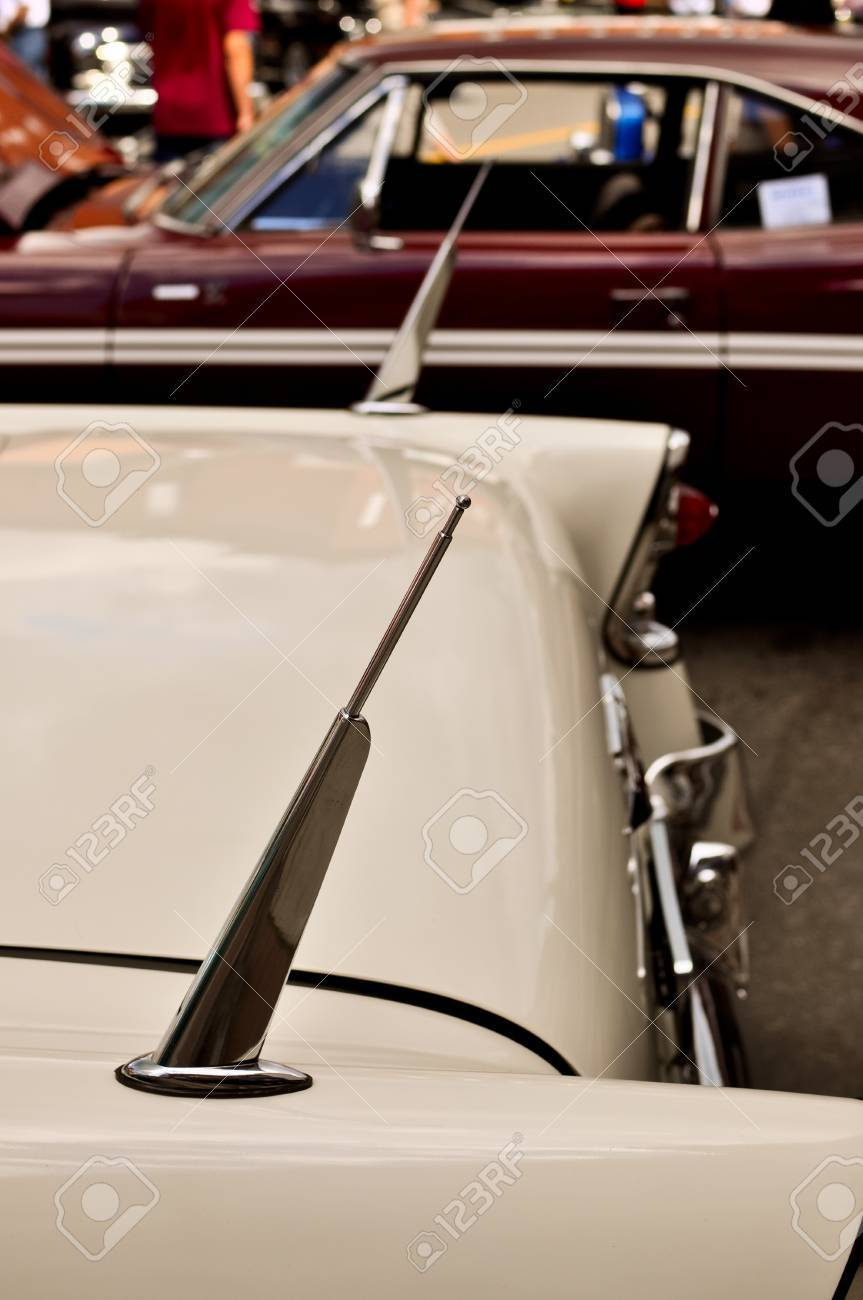 Antenna On A Vintage Car Stock Photo Picture And Royalty Free Image