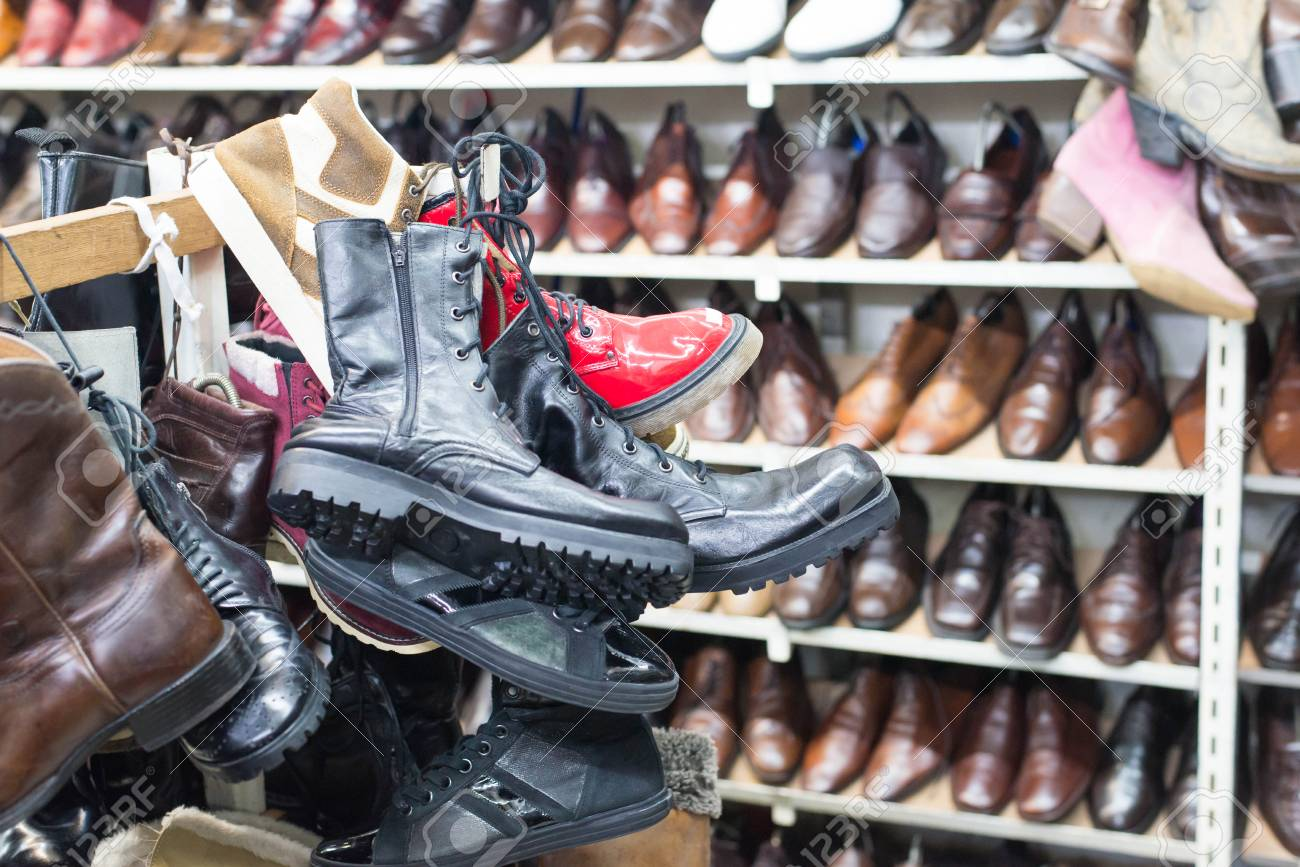 Shop Of Second Hand Leather Shoes. Many