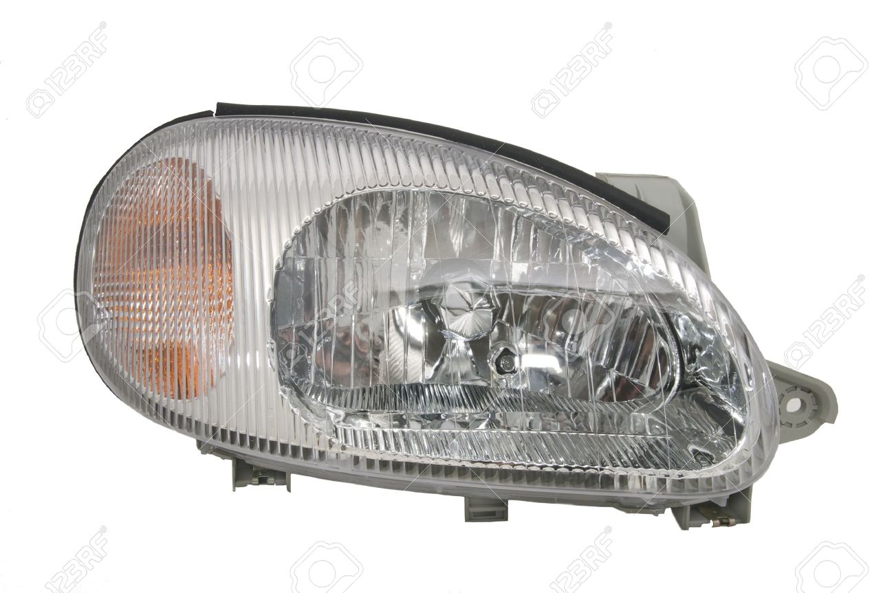 New Car Headlights On A White Background Stock Photo