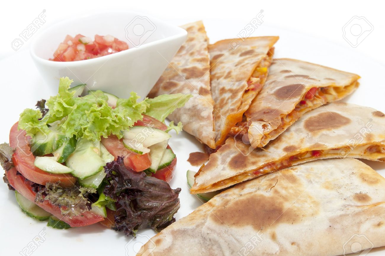 Mexican Food Dishes At The Restaurant On A White Background Stock