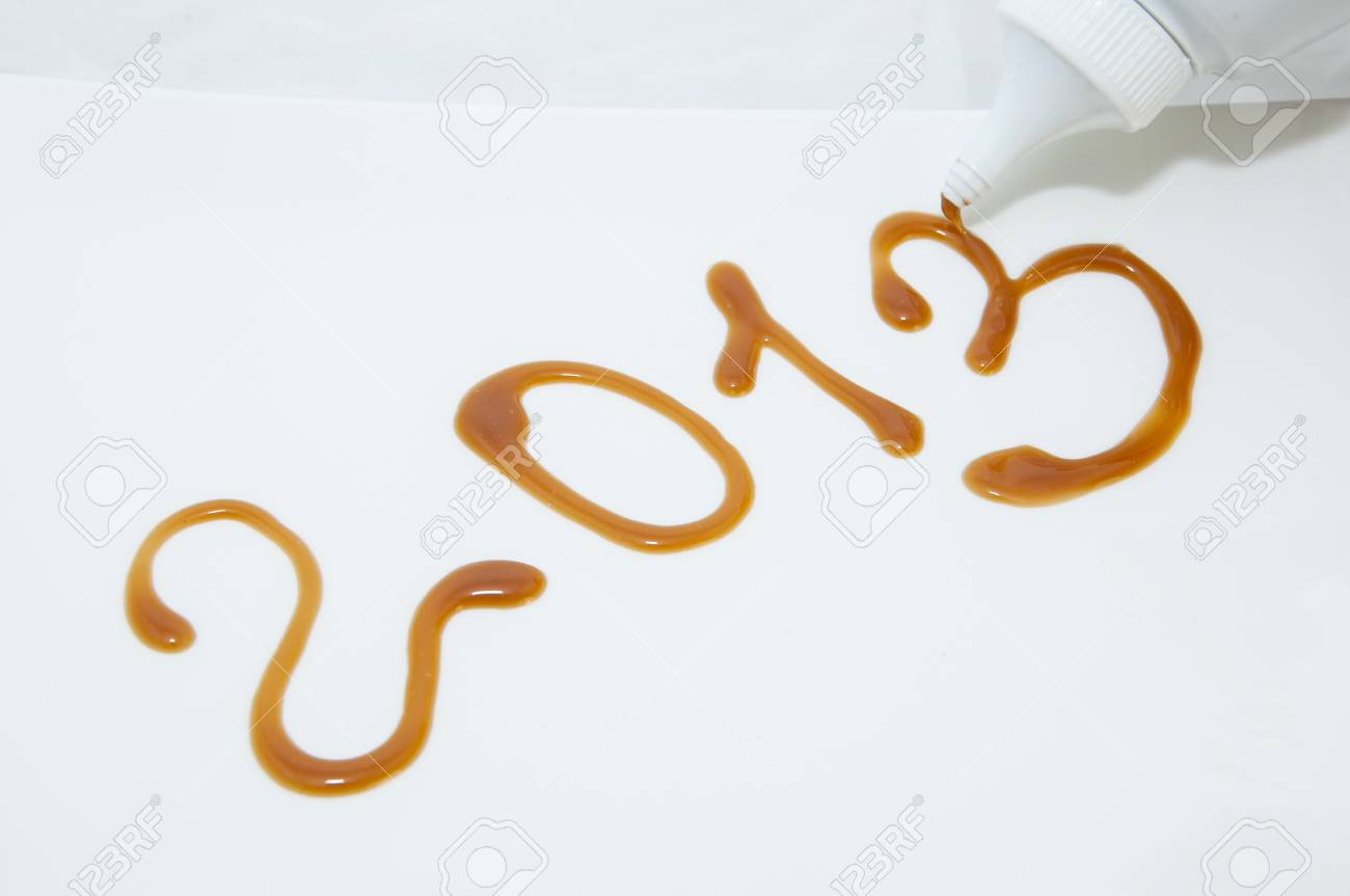 drawing numbers 2013 jam on a plate Stock Photo - 15434907