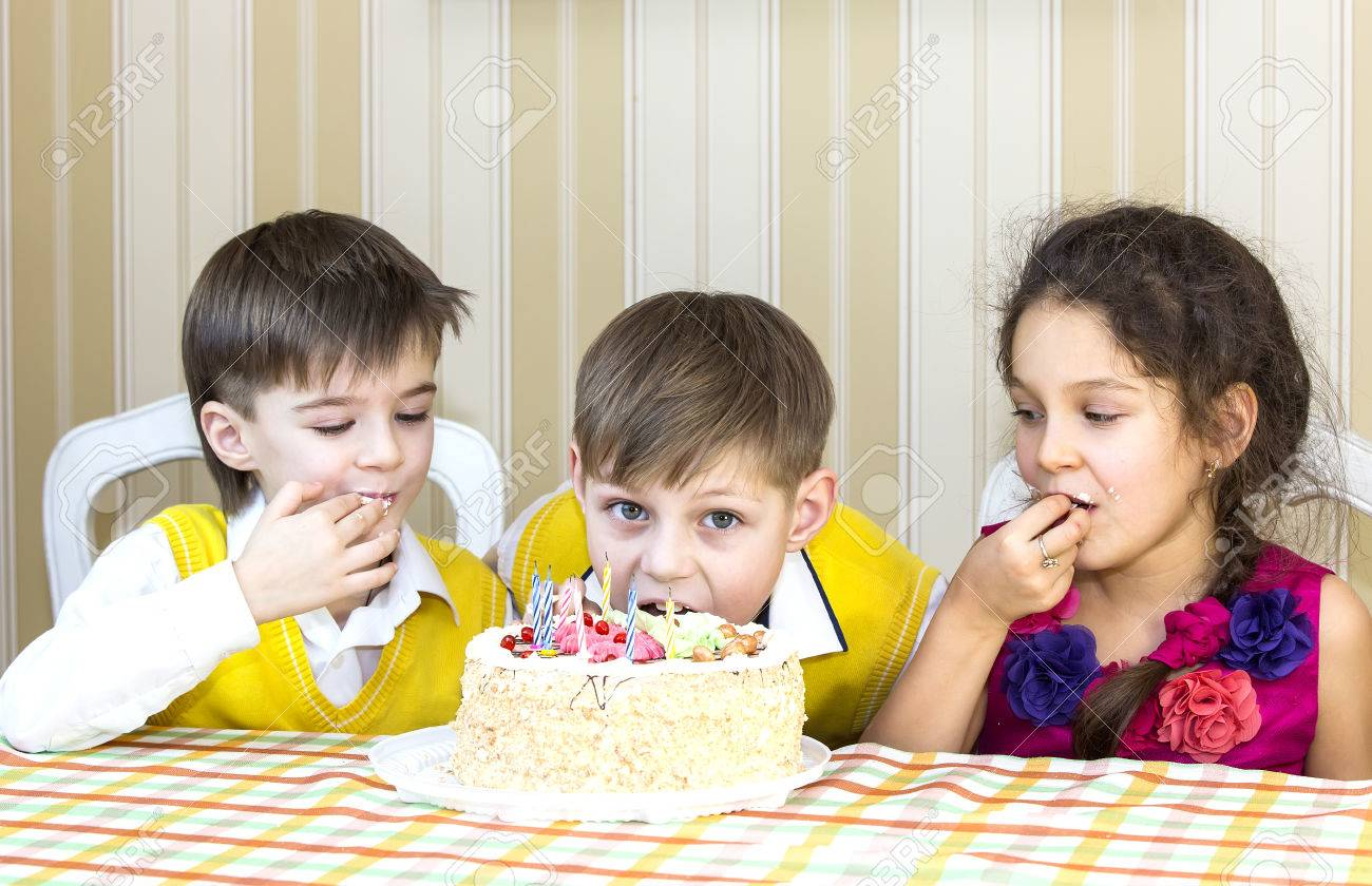 Groovy Kids Have Fun Eating Birthday Cake Stock Photo Picture And Funny Birthday Cards Online Inifofree Goldxyz