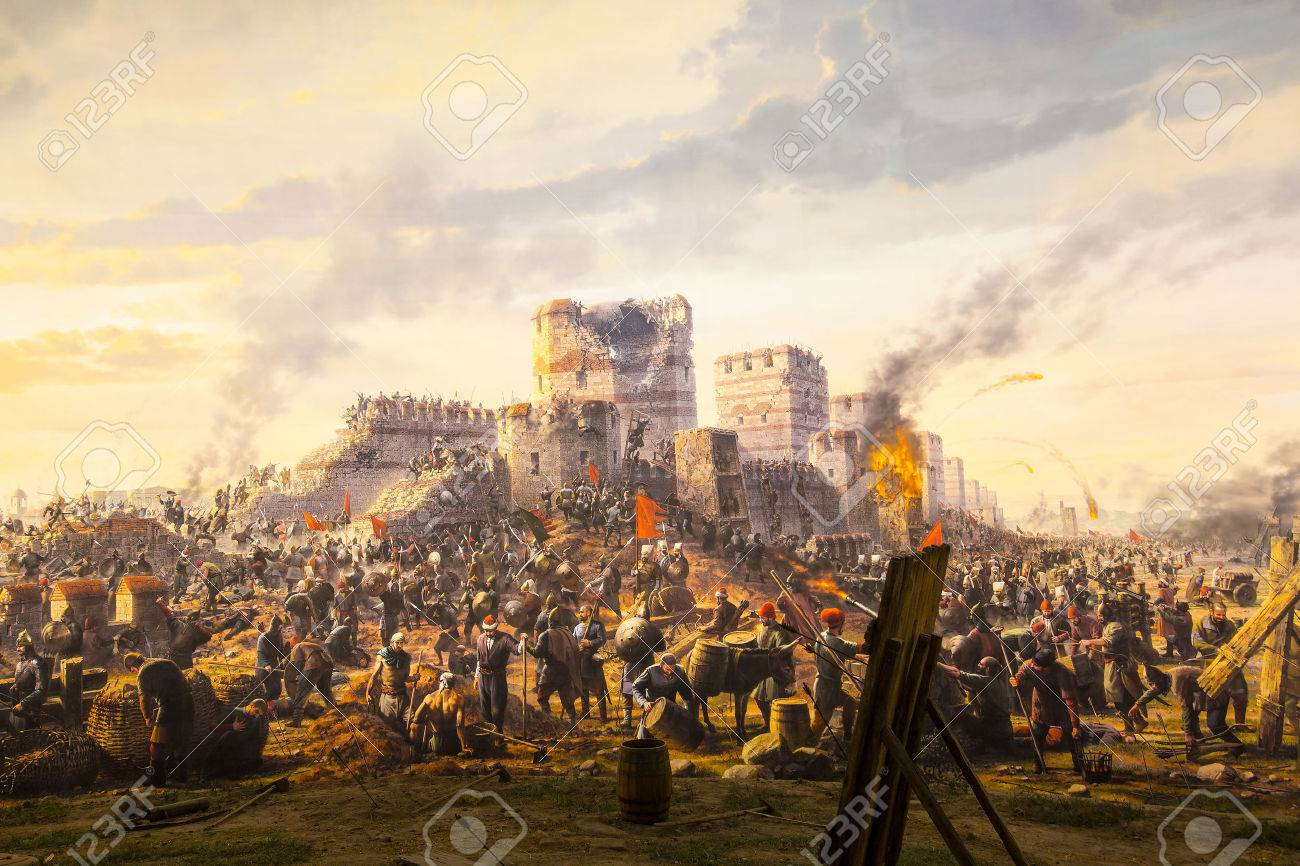 ISTANBUL, TURKEY - JUNE 6, 2016: Fall of Constantinople in 1453. Captured