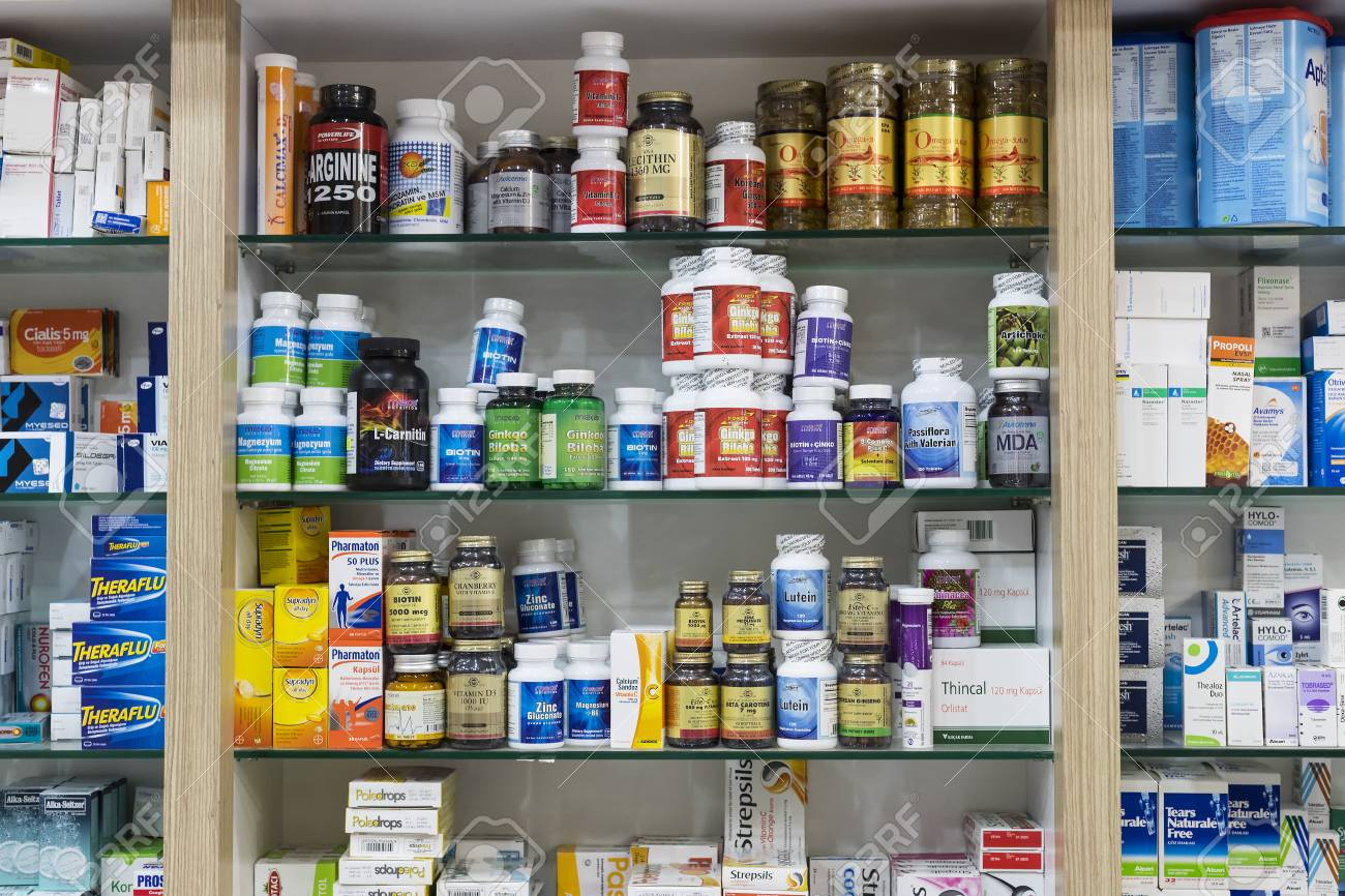 SIDE, TURKEY   4 OCTOBER, 2017: Pharmacy Cabinets With Medicines And Drugs  Tablets