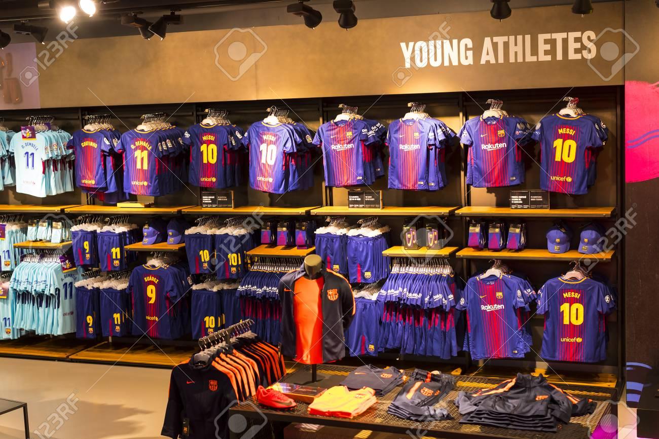 ecb199a3e BARCELONA, SPAIN - 12 JANUARY 2018: Official Store FC Barcelona, ??clothing