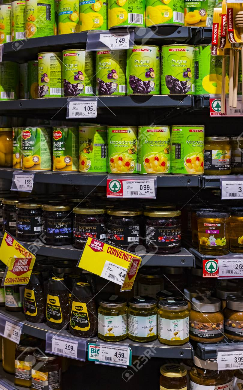 VERONA, ITALY - 4 SEPTEMBER 2018: Shelves and shelving with products of drinks and goods in the supermarket SPAR. - 110320305