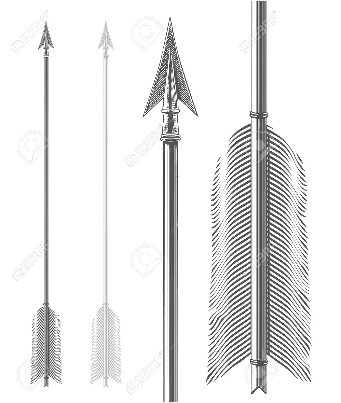 Vintage Arrow In Engraving Style Royalty Free Cliparts Vectors And