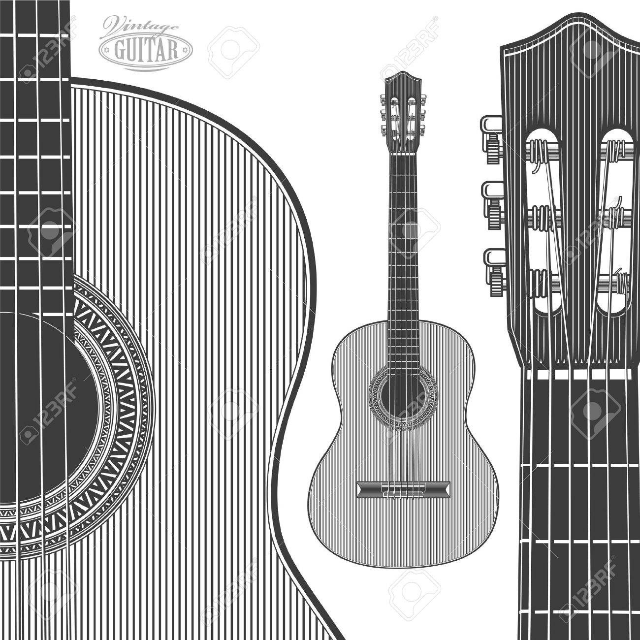 Guitar In Engraving Style On Transparent Background Royalty Free