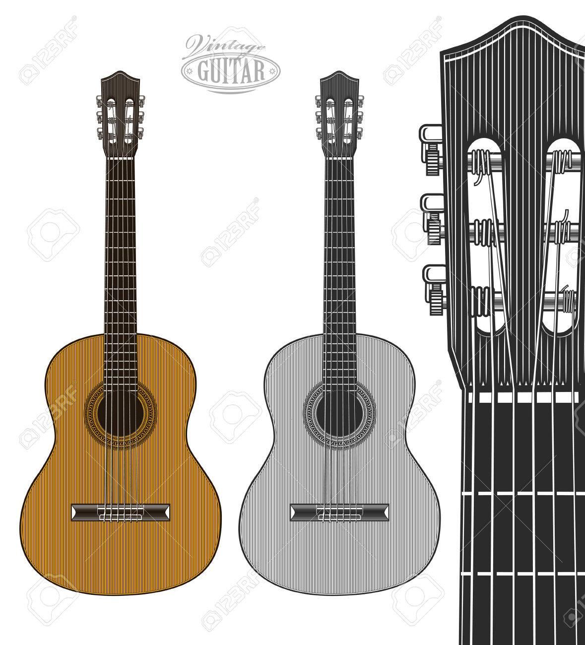 Guitarra En El Estilo De Grabado. Ilustración Vectorial Aislados ...
