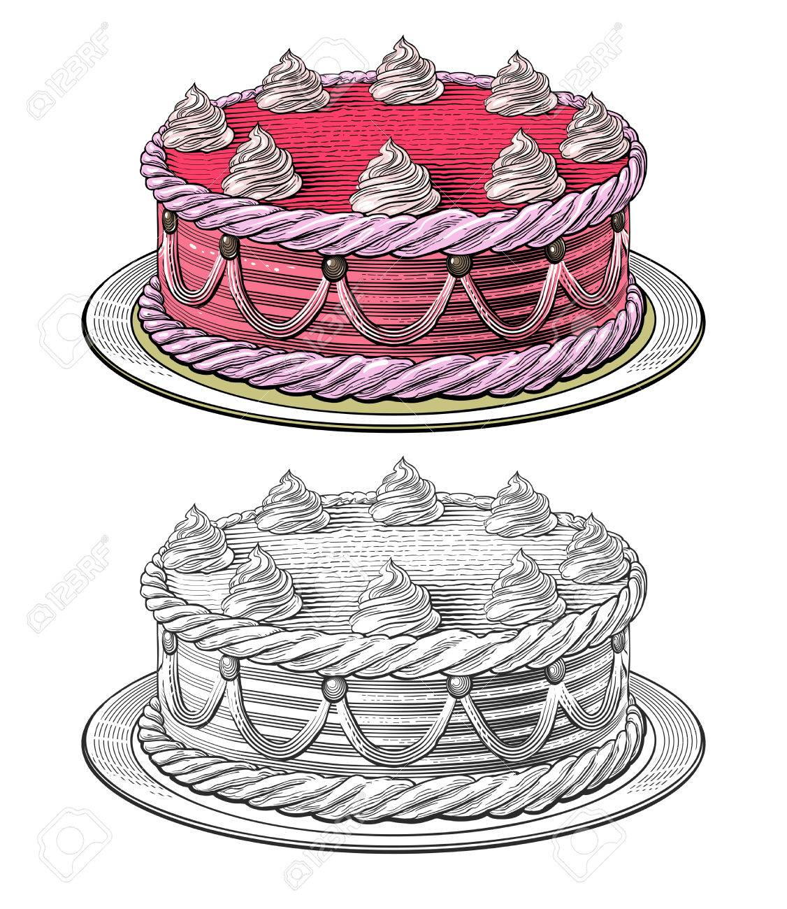 Birthday Cake In Engraving Style Isolated Grouped On Transparent