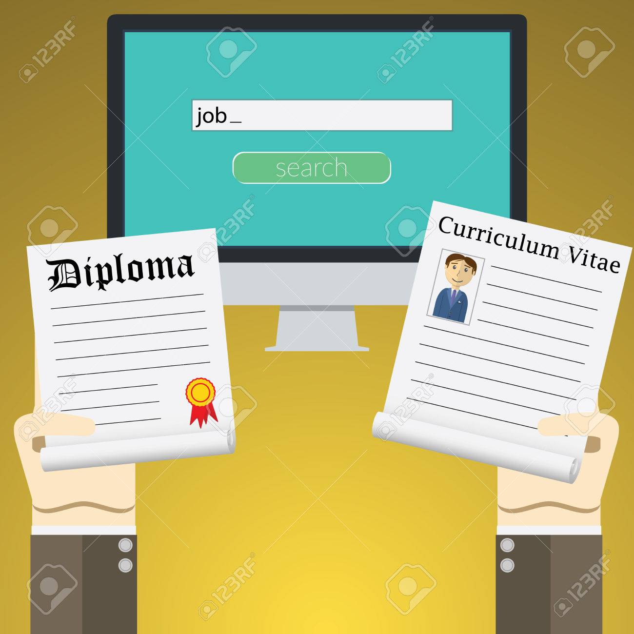 flat design illustration concept for online job search on computer flat design illustration concept for online job search on computer concepts of hands holding diploma