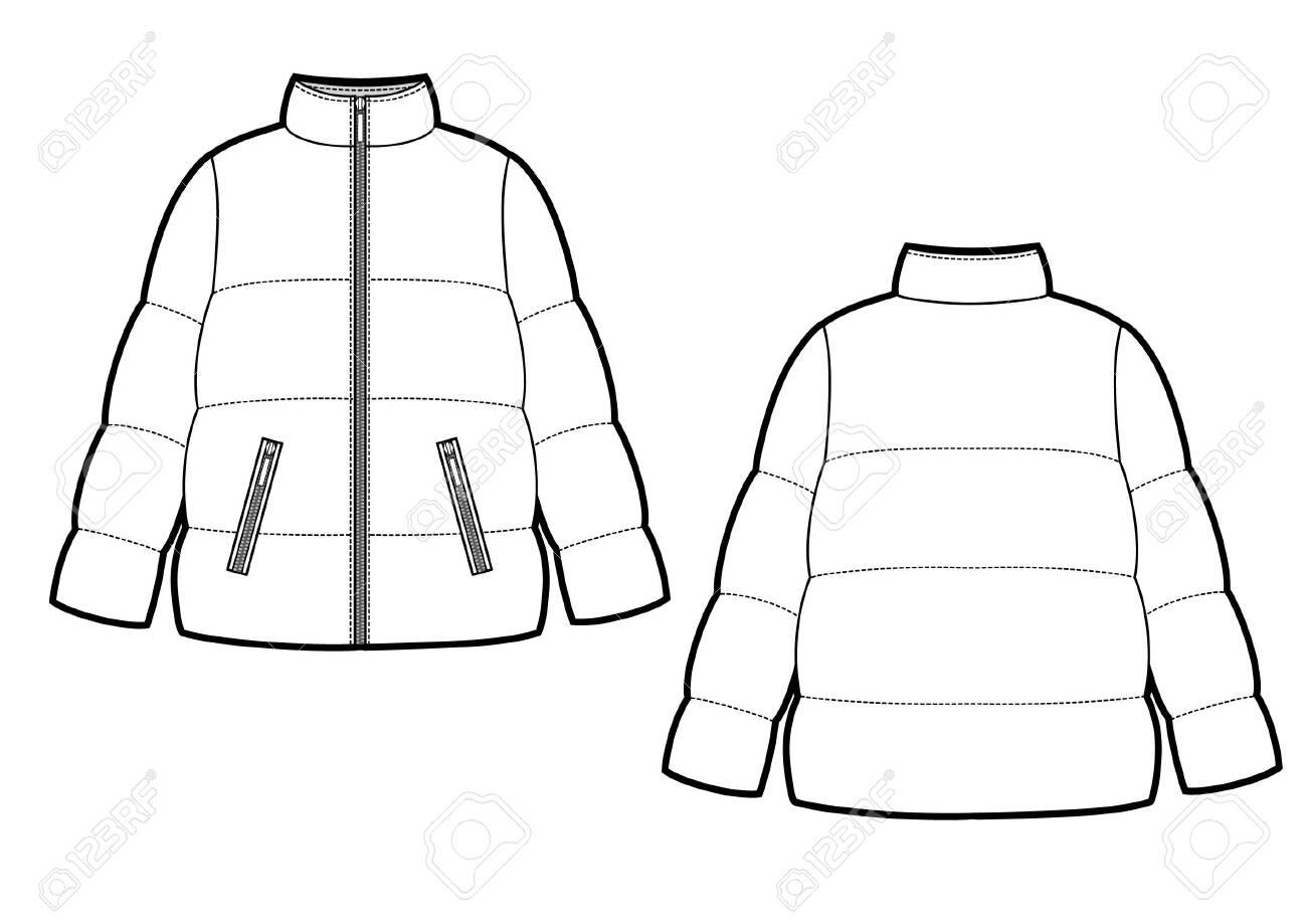 Vector illustration of women's winter down coat - 137447986