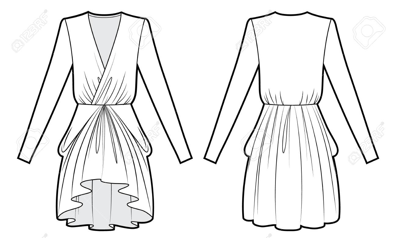 Technical Drawing Of Evening Dress With Drape Royalty Free Cliparts Vectors And Stock Illustration Image 139949934