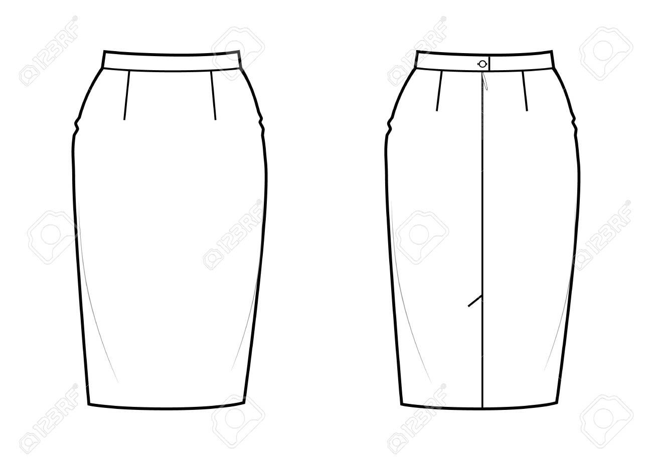 Classic knee-length pencil skirt, back zip clasp. Basic wardrobe essential. - 151073746