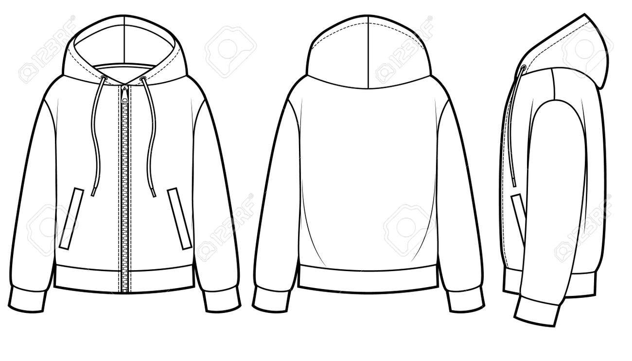 Blank Men's and Women's hoodies in front, back and side views. Zipper clasp on front - 167226105
