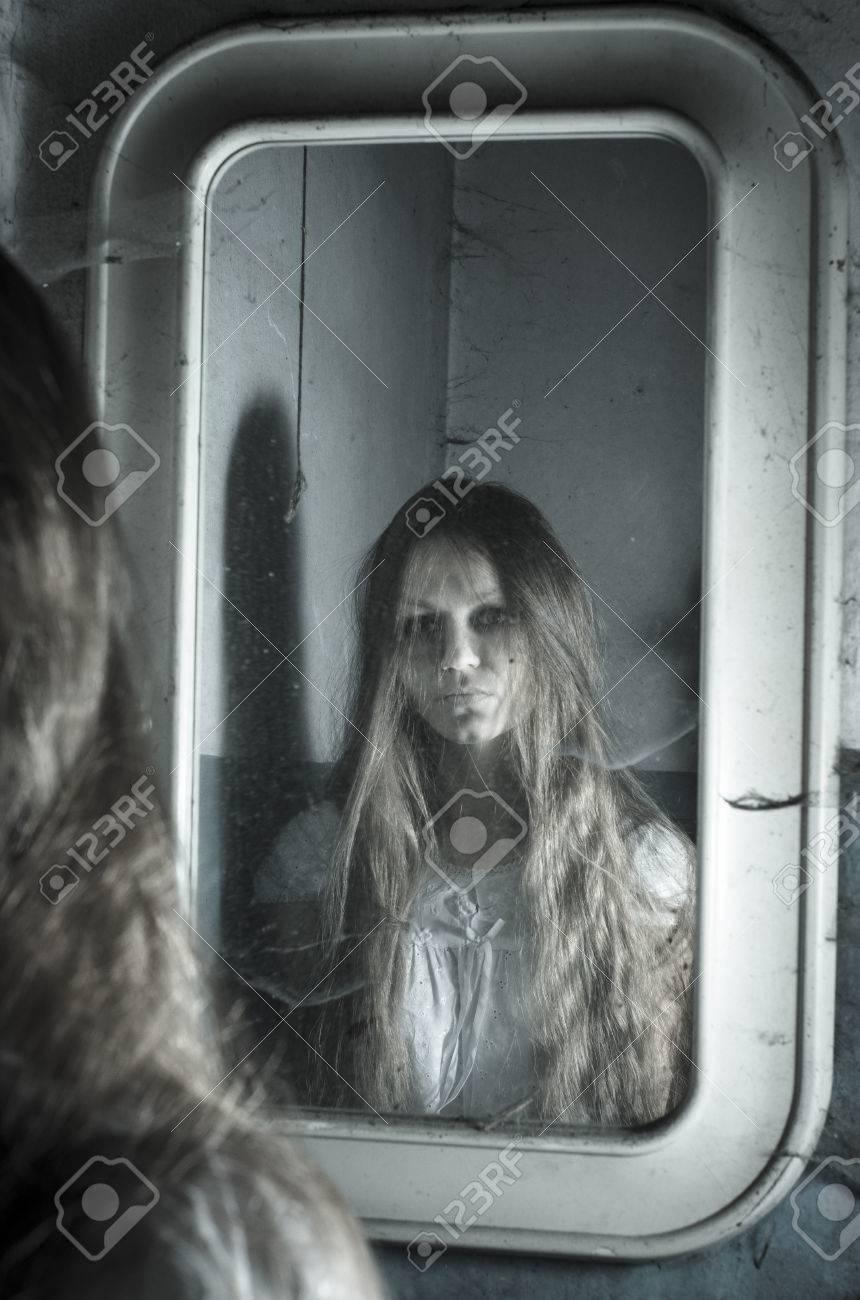 ghost mirror scary ghost girl in the mirror (best funny videos  - horror girl in the mirror stock photo picture and royalty free