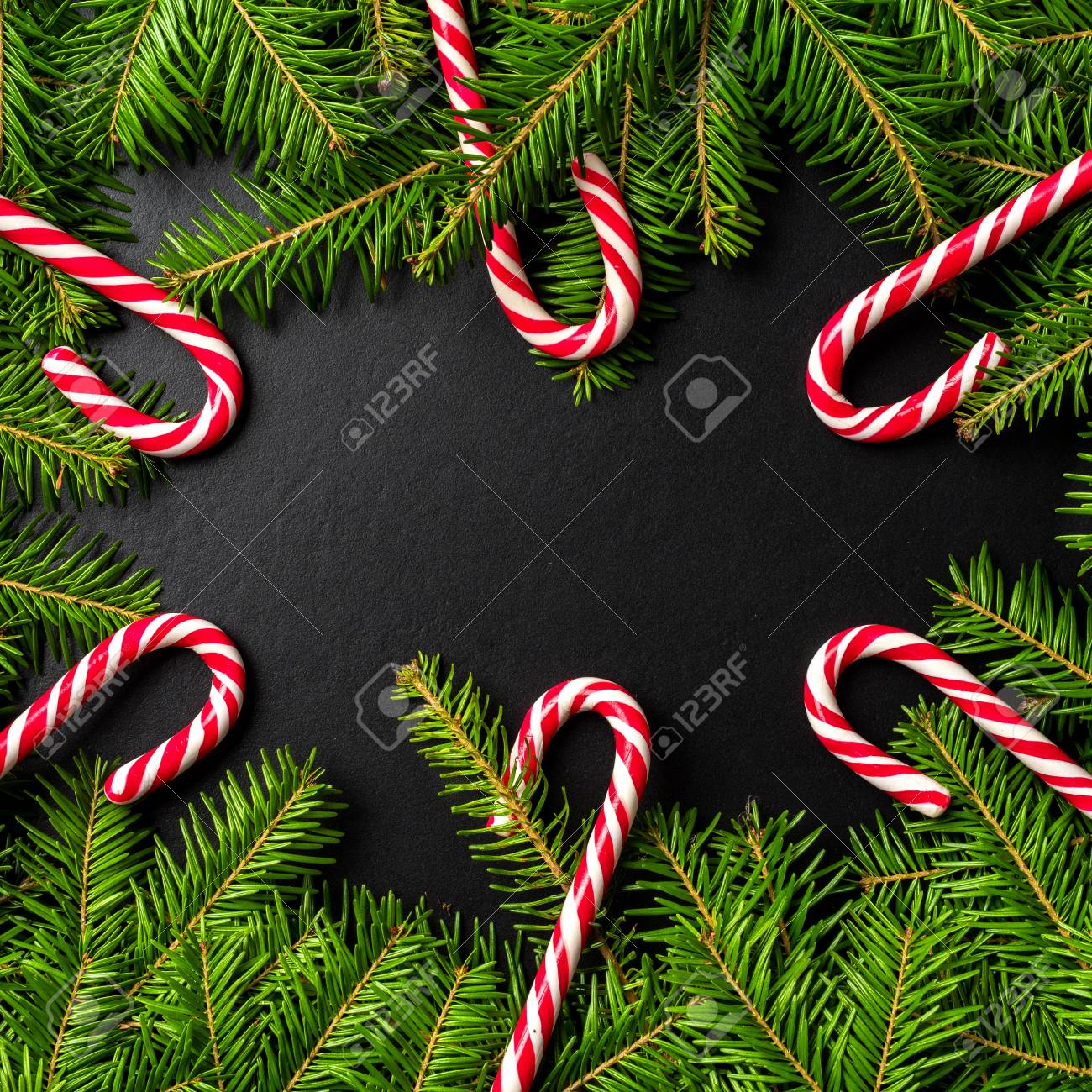 Candy Cane Christmas Tree.Christmas Tree With Candy Cane Background With Copyspace
