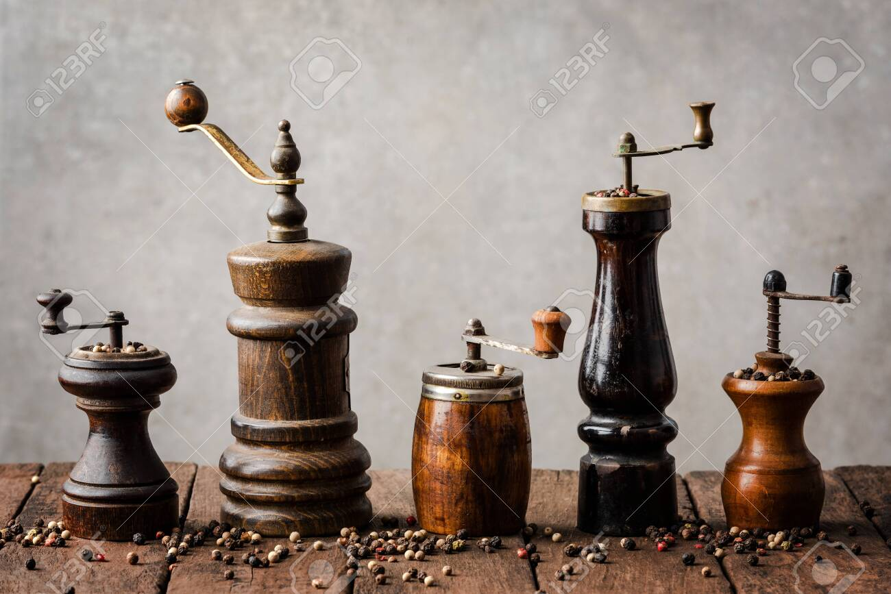 Collection Of Vintage Pepper Mills Stock Photo Picture And Royalty Free Image Image 151230302