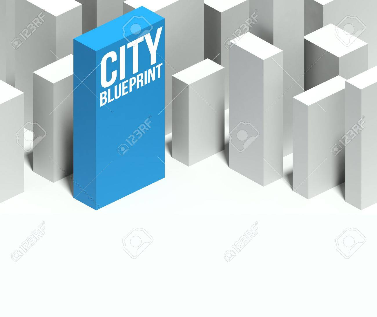 3d city blueprint conceptual model of miniature downtown with