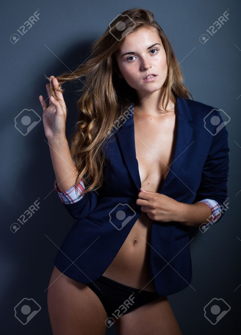 Sexy Elegant Woman Without Bra In Jacket And Panties Stock Photo ...