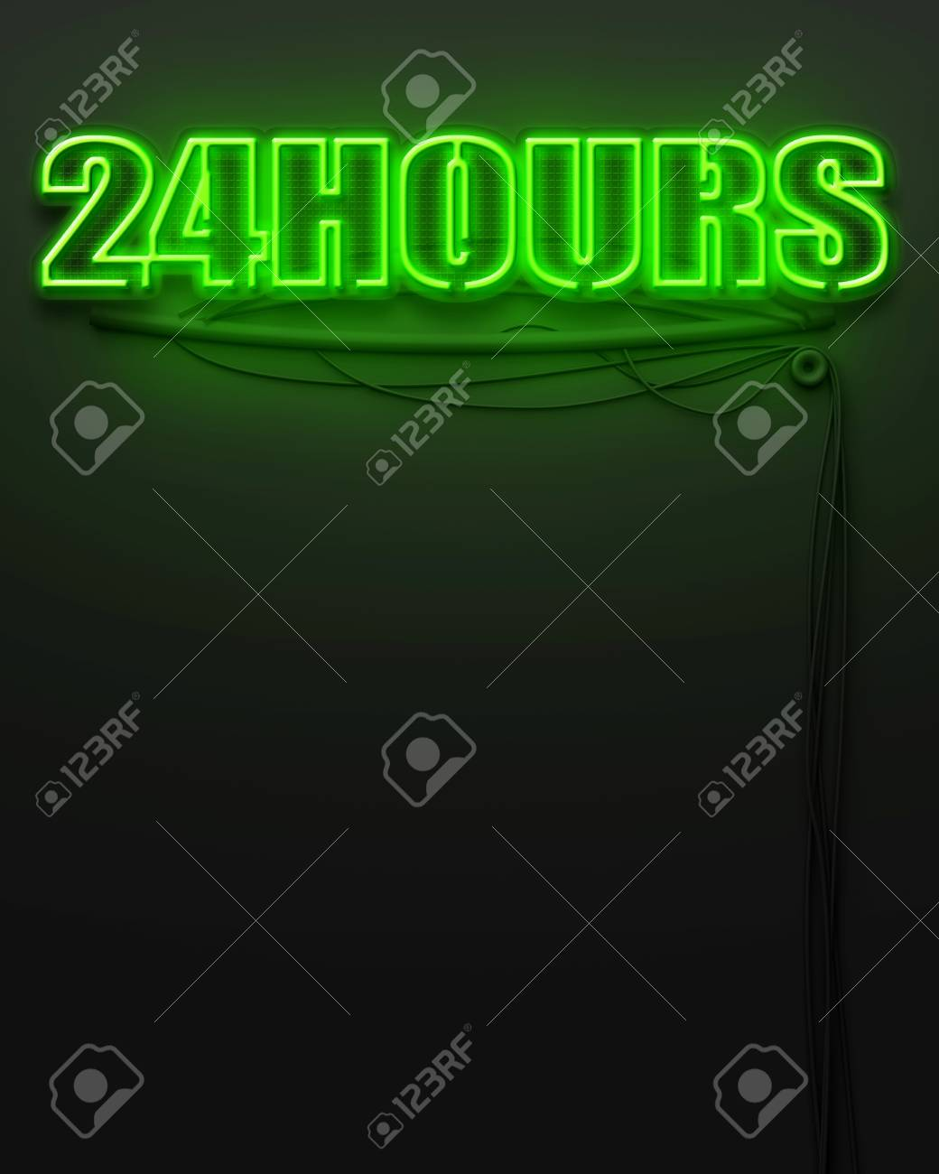 Neon glowing sign with word 24 Hours and copyspace Stock Photo - 22874262