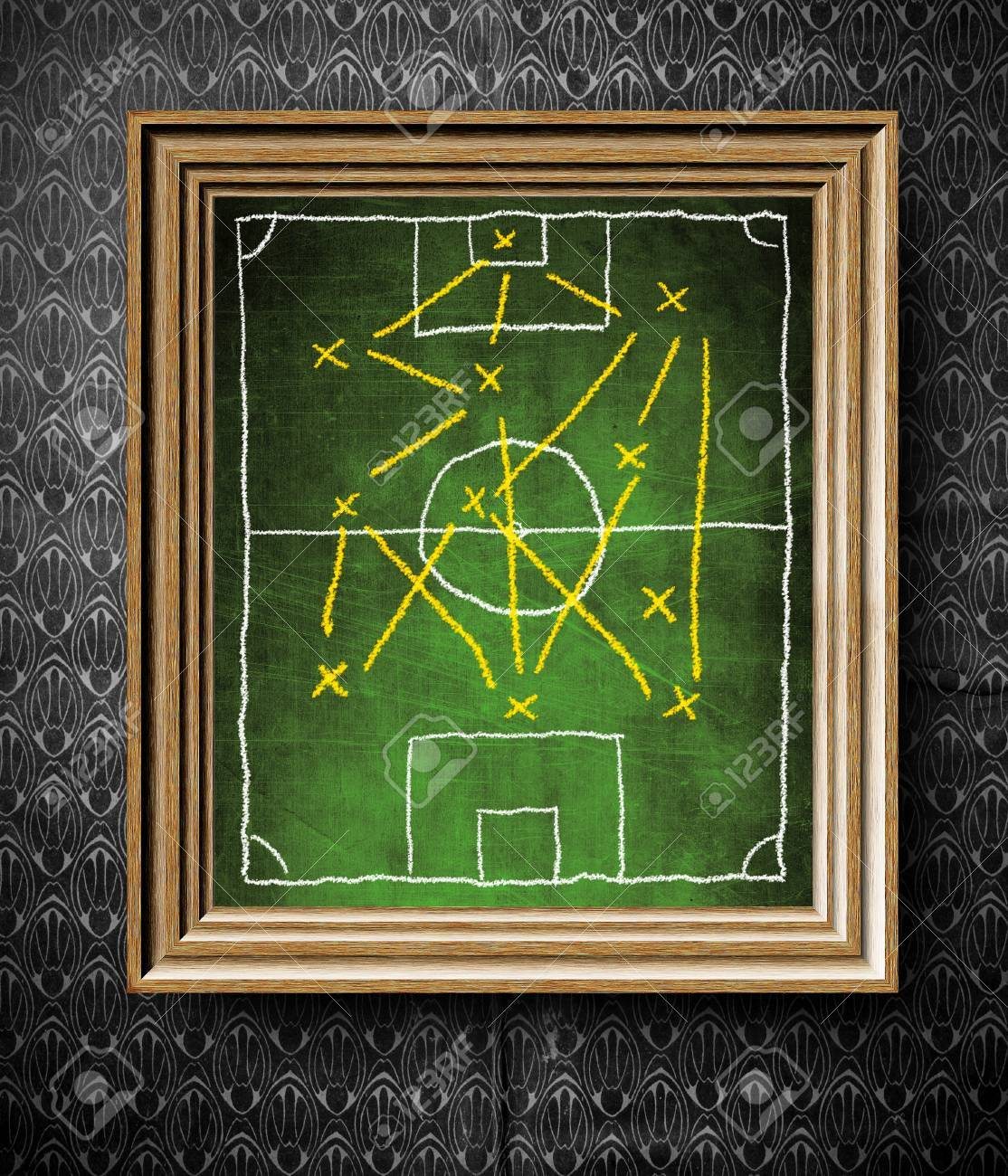 Soccer field board with tactics chalkboard in old wooden frame soccer field board with tactics chalkboard in old wooden frame on vintage wall stock photo jeuxipadfo Images