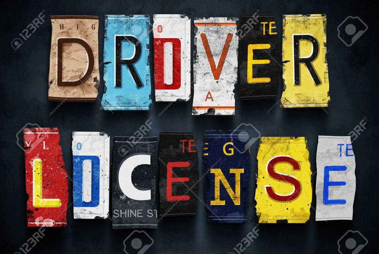 Driver License Word On Vintage Broken Car Number Plates, Concept ...
