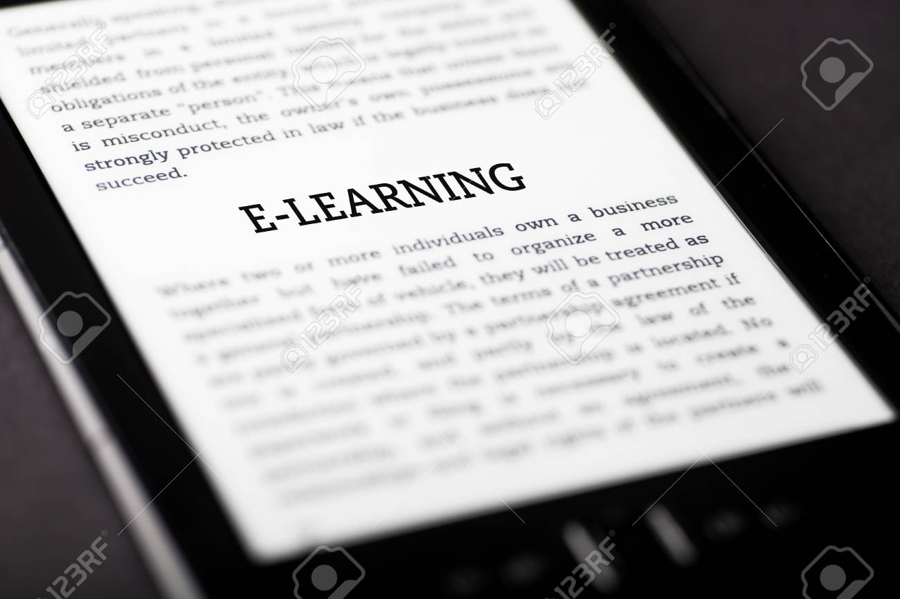 E-learning book on tablet pc touchpad, ebook concept Stock Photo - 23216904