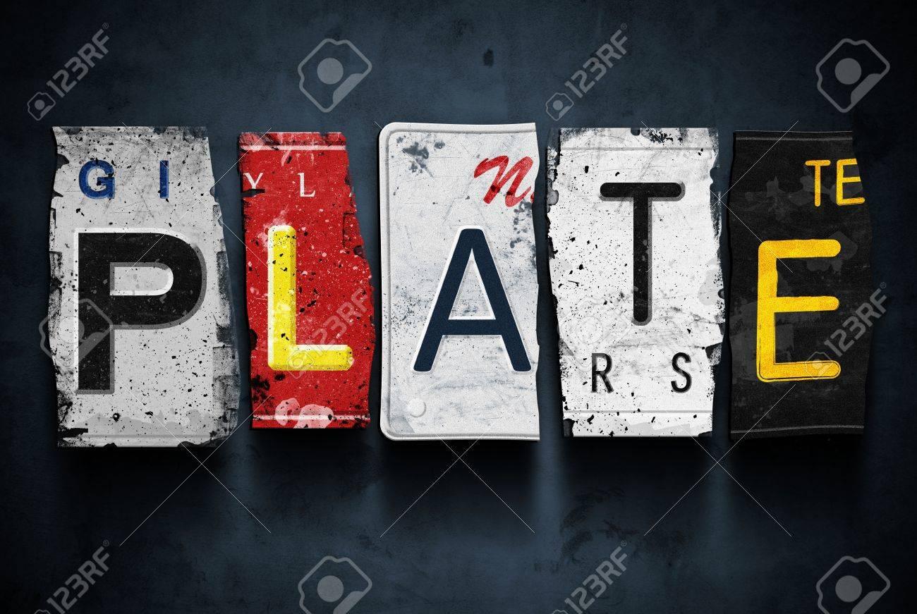 Plate Word On Vintage Broken Car License Plates, Concept Sign Stock ...