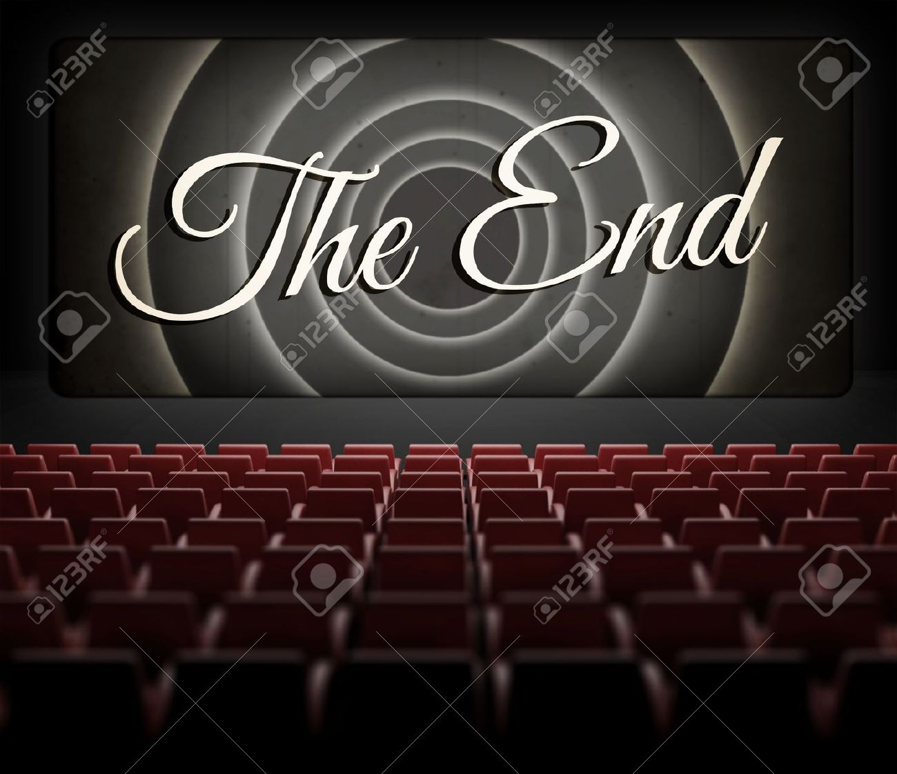 Movie ending screen in old retro cinema, view from audience Stock Photo - 25006877