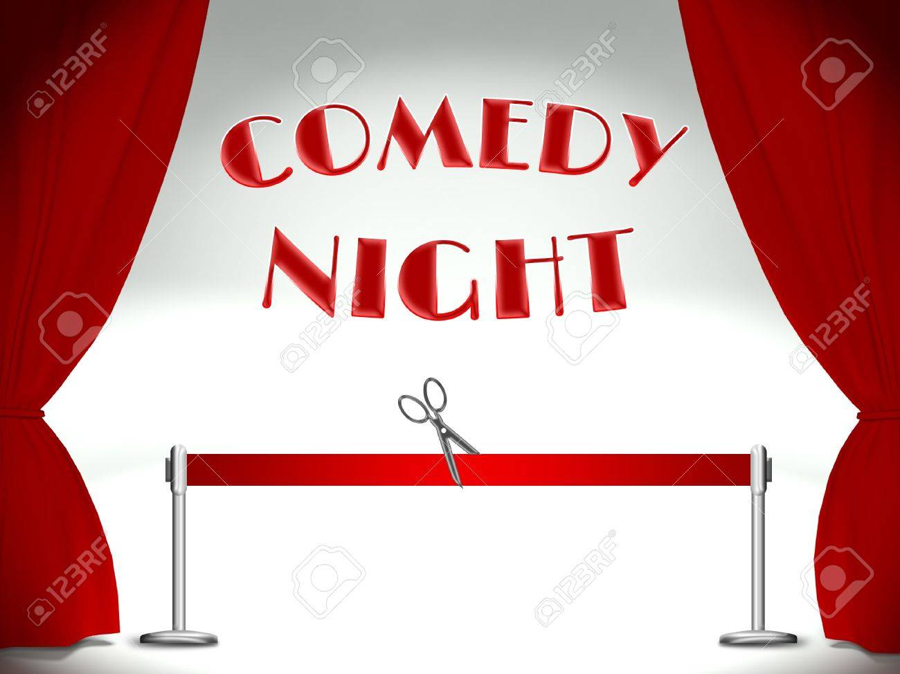 Comedy night on stage, red ribbon and scissors Stock Photo - 25316987