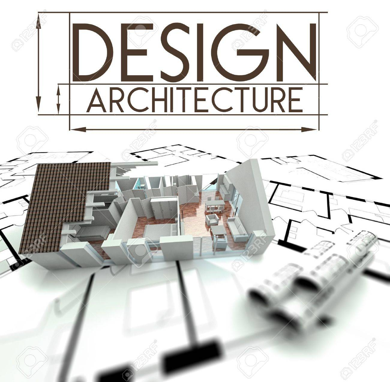 Architecture Blueprints 3d architecture blueprints 3d expensivelooking house on top stock t