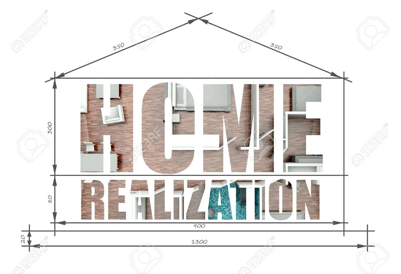 Home Realization Architectural Illustration In Modern House Blueprint Stock  Illustration   25316872