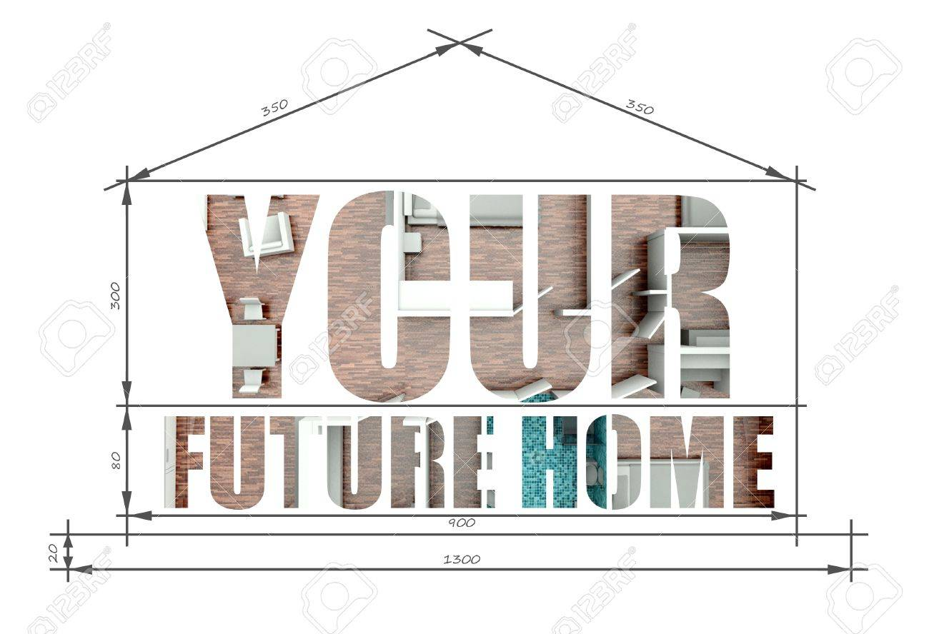 your future home slogan in modern house blueprint stock photo