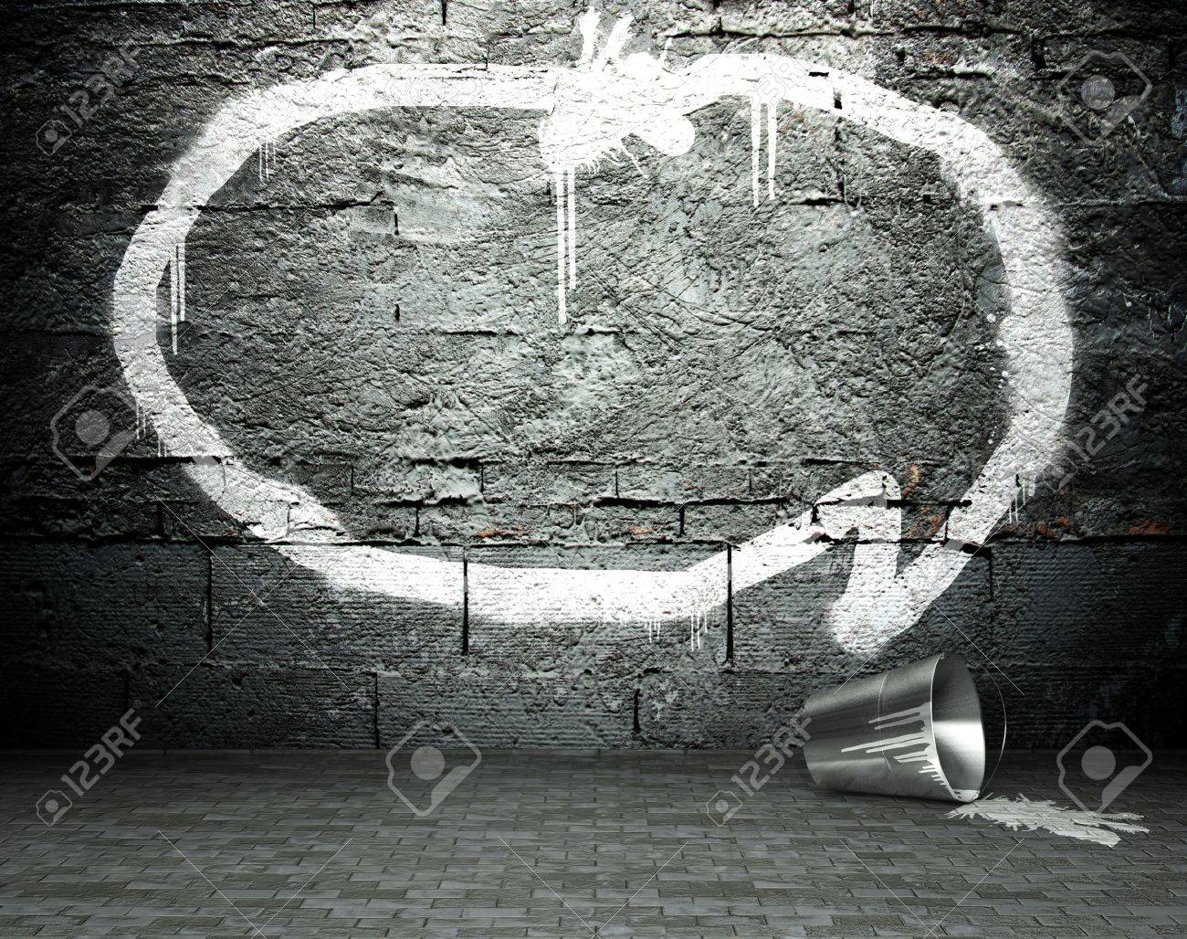 Graffiti Wall With Speech Bubble Street Art Background Stock Photo