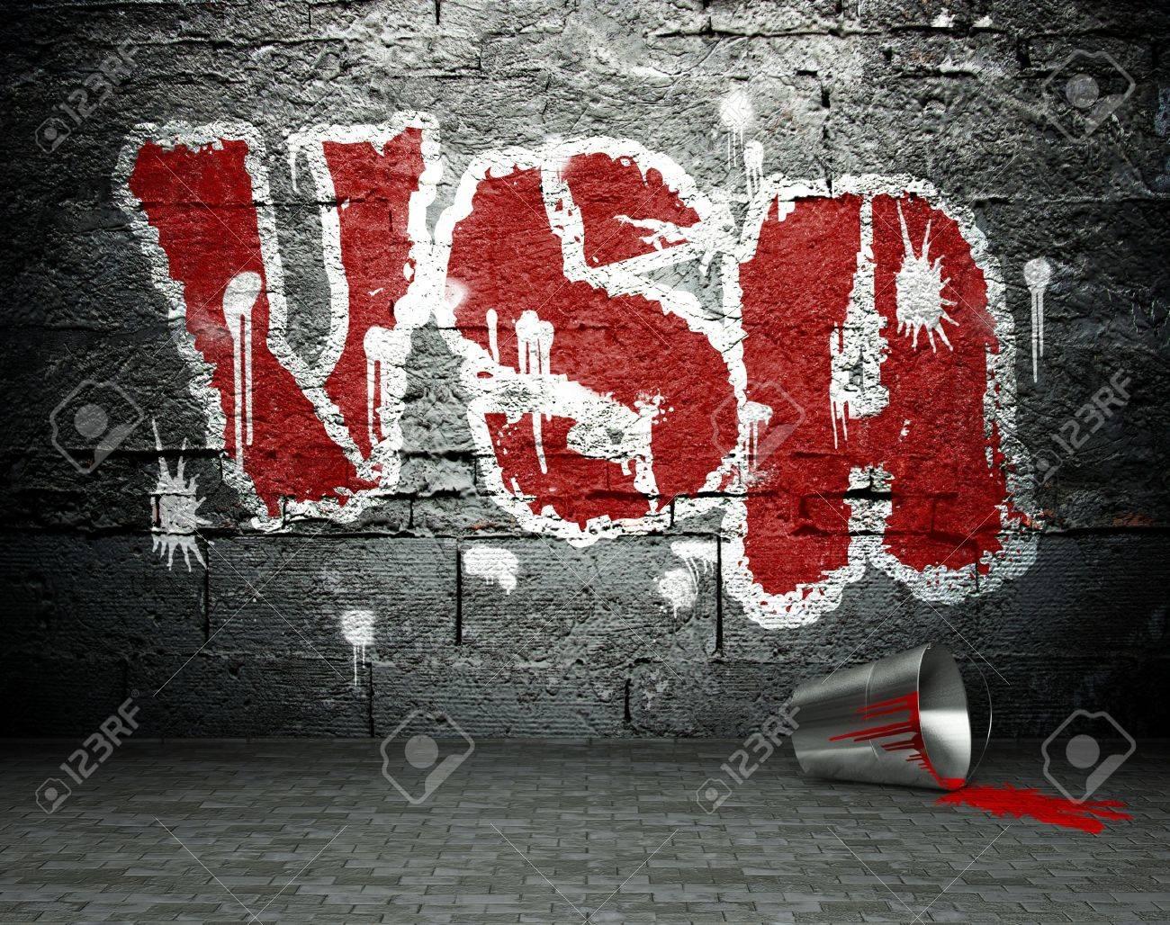 Graffiti wall usa - Graffiti Wall With Usa Street Art Background Stock Photo 25334160