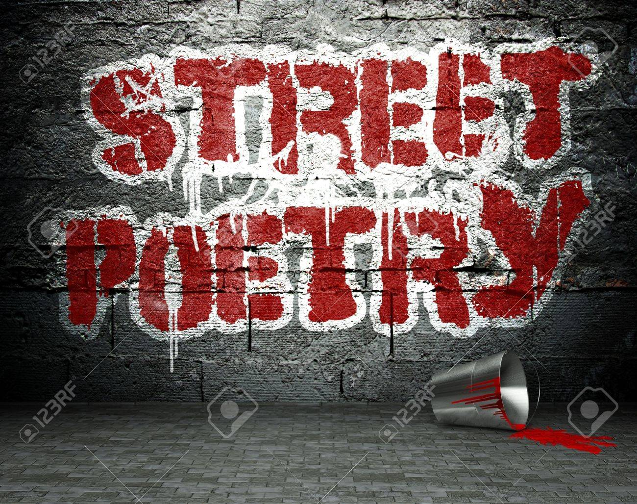 Graffiti wall with poetry, street art background Stock Photo - 25334247
