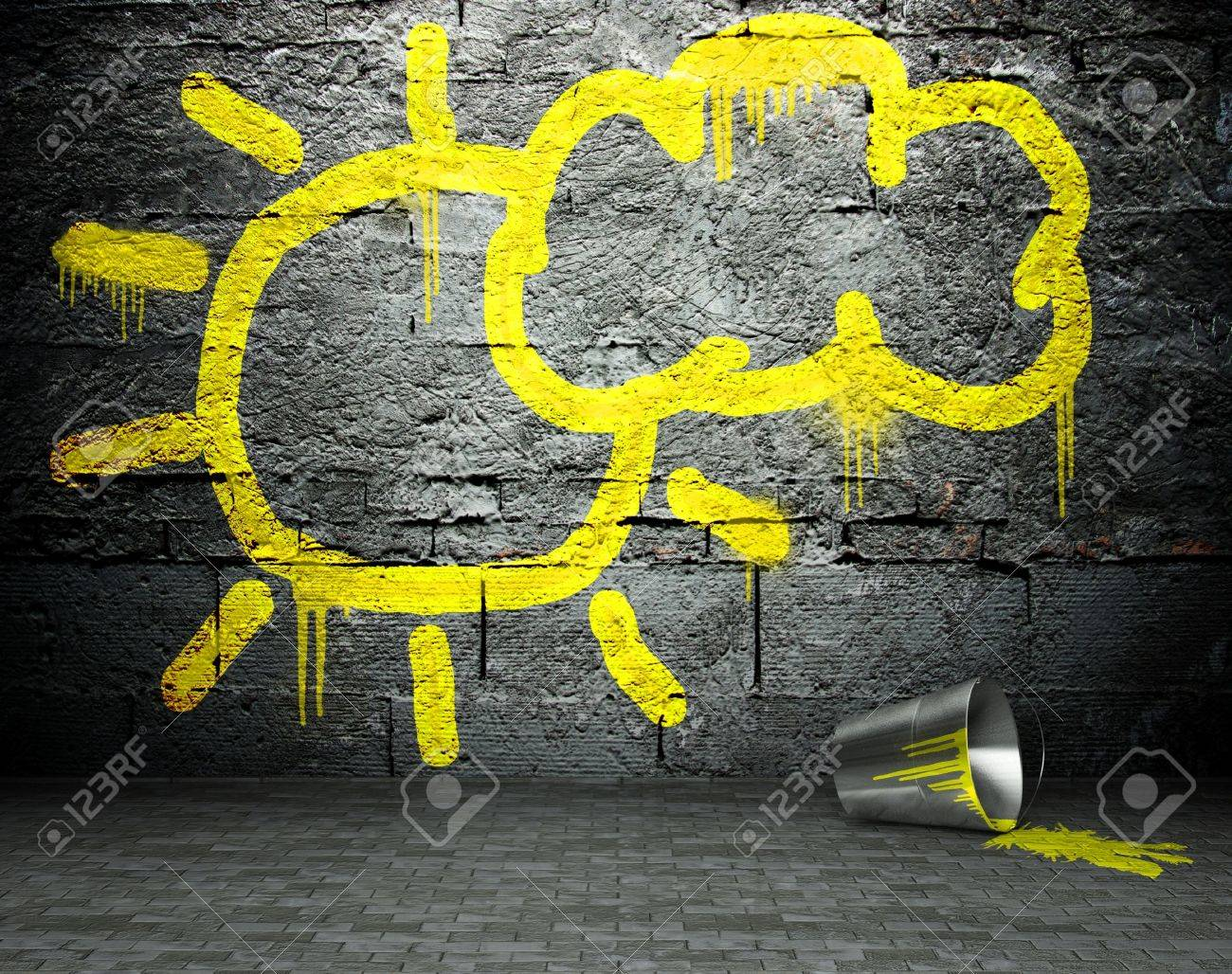 Graffiti Wall With Sun And Cloud Sign, Street Art Background Stock ...